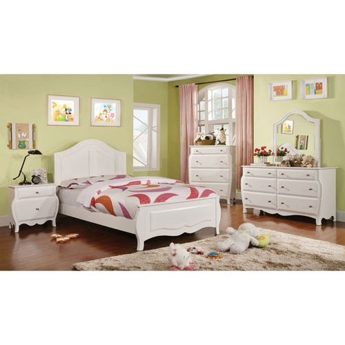 roxana cottage style white finish 6piece youth complete bedroom set