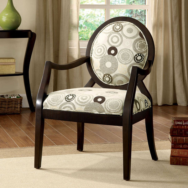Cairns Espresso Finish Fabric Padded Accent Chair