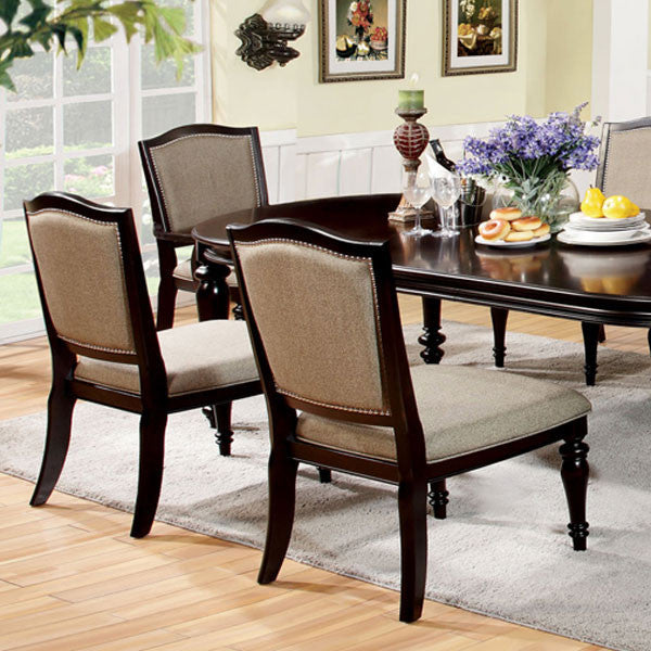 Brussels Traditional Dining Room Set 7 Piece Set: Harrinton French Style Espresso Finish Formal 7-Piece