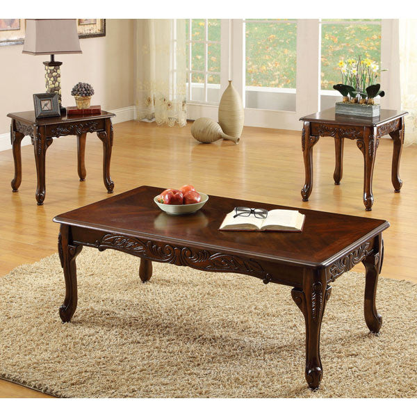 Fraser Old English Style Cherry Finish 3-Piece Coffee & End Table Set