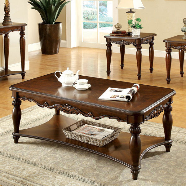 Bunbury Classic Style Cherry Finish 3-Piece Coffee & End Table Set