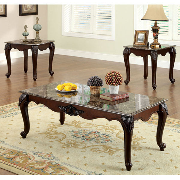 Chester Classic Style Dark Cherry Finish 3 Piece Coffee U0026 End Table Set