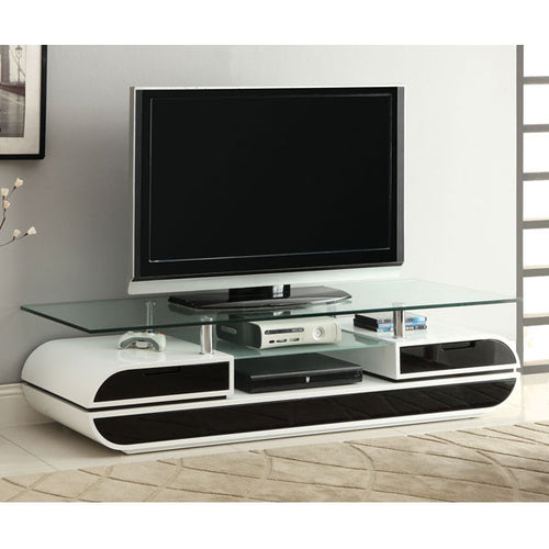 Evos Contemporary Glossy Black and White 60-inch TV Stand