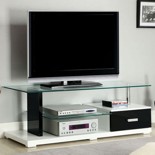 Egaleo Contemporary Black and White 55-inch TV Stand