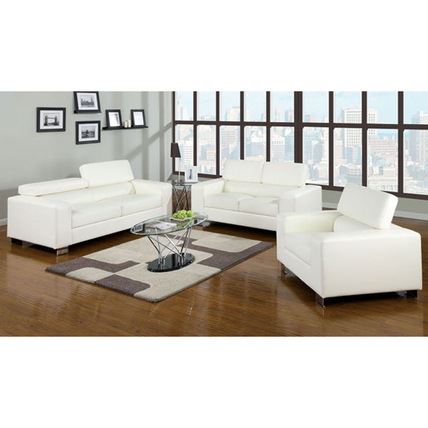 Makri Contemporary Bonded Leather 3-Piece Sofa Set