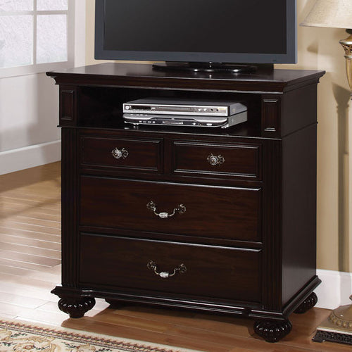 Syracuse Classic Style Dark Walnut Finish Media Chest