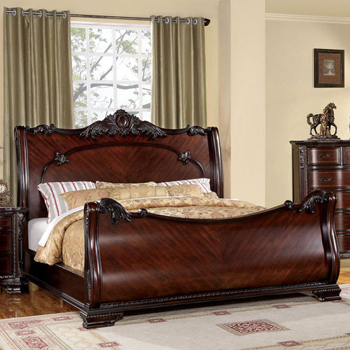 Bellefonte Baroque Style Brown Cherry Sleigh Bed