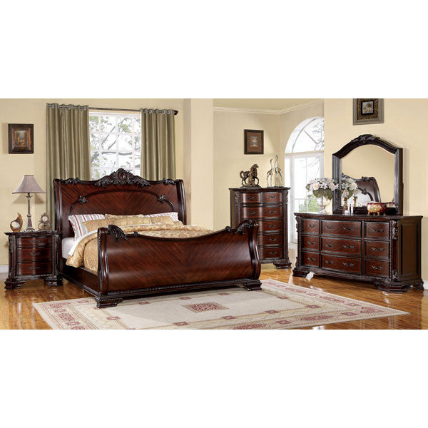 Bellefonte Baroque Style Brown Cherry 6-Piece Bedroom Set