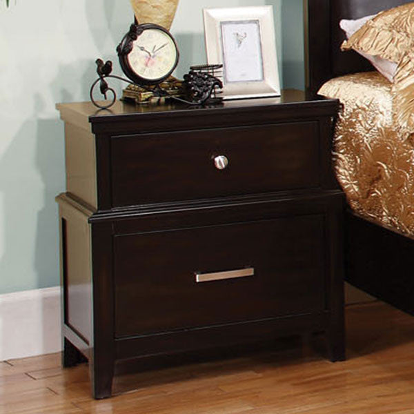 Linden Transitional Style Espresso Finish Nightstand