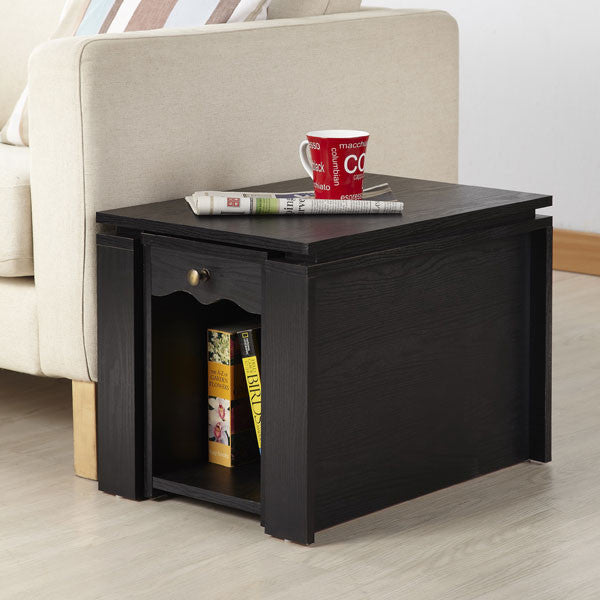 Verda Contemporary Style Black Finish Extendable End Table