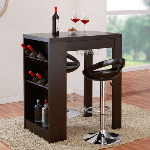Miura Modern Style Cappuccino Finish Storage Bar Table
