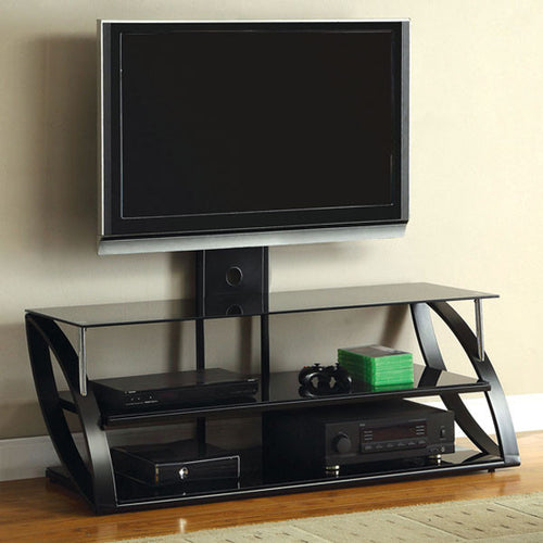 Adella Contemporary Black and Chrome 50-inch TV Stand