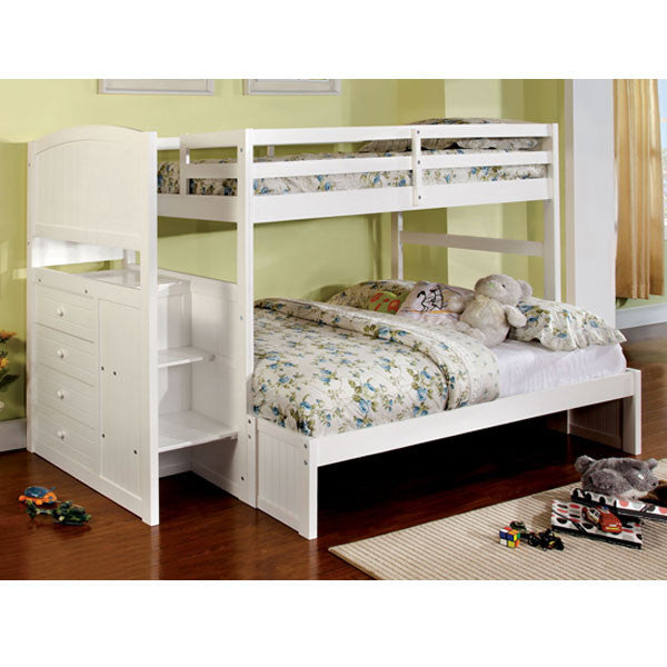 Reco White Finish Twin & Full Dual Size Bunk Bed With Side Storage Drawers