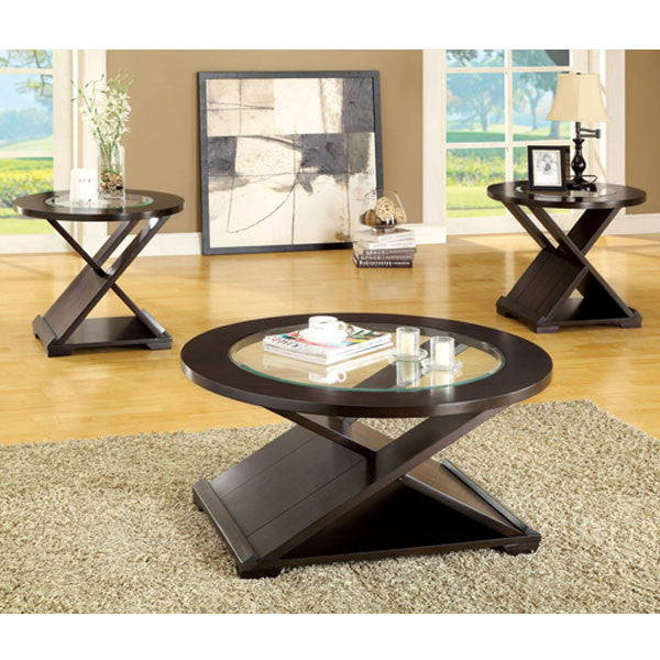 Orbe Contemporary Style Espresso Finish 3 Piece Coffee U0026 End Table Set