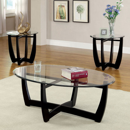 Dafni Contemporary Style Black Finish 3-Piece Coffee & End Table Set