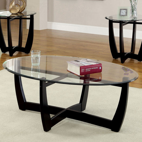 ... Set; Dafni Contemporary Style Black Finish 3-Piece Coffee & End Table  ... - Dafni Contemporary Style Black Finish 3-Piece Coffee & End Table