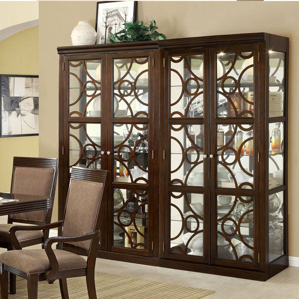 Woodmont elegant style walnut finish formal dining china for Formal dining room sets with china cabinet