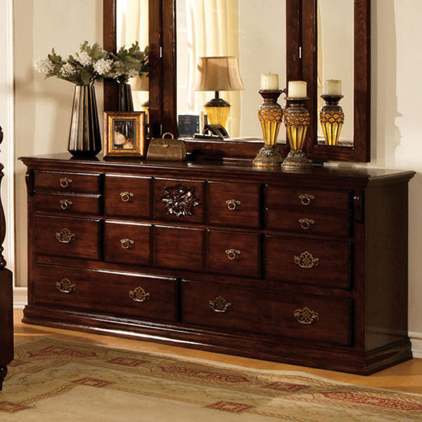 Tuscan Colonial Style Dark Pine 8-Drawer Bedroom Dresser