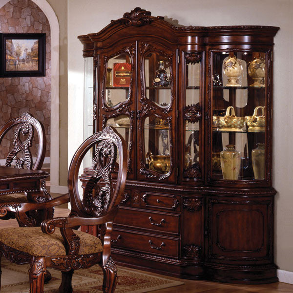 Tuscany Colonial Style Antique Cherry Formal Dining China Cabinet Hutch - Tuscany Colonial Style Antique Cherry Formal Dining China Cabinet