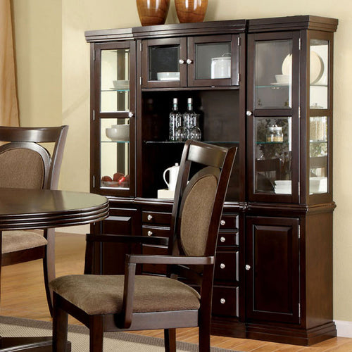 Evelyn Traditional Style Dark Walnut Finish Formal Dining China Cabinet Hutch