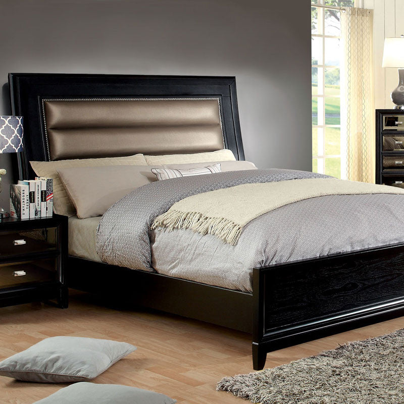 Golva Contemporary Leatherette Headboard Bed, Black