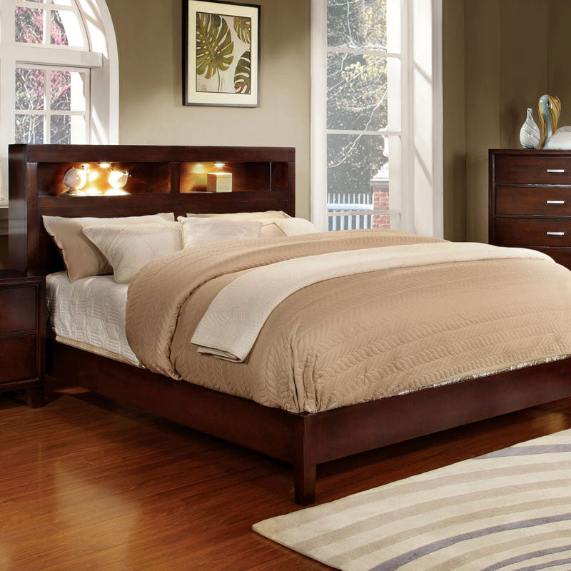 Estelle Contemporary Bookcase Headboard Platform Bed