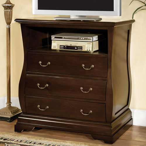 Brunswick Transitional Cottage Style Dark Walnut Finish Media Chest