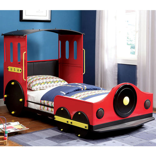 Metal Train Youth Twin Size Bed