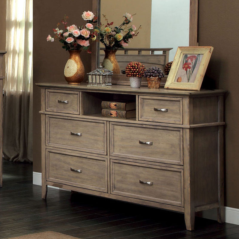 Loxley Transitional Style Bleach Oak Finish Bedroom Dresser