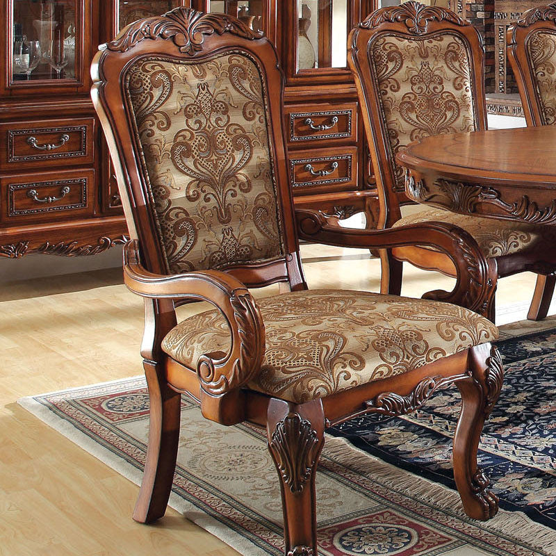 Medieve English Style Antique Oak Finish Formal Dining Armchair