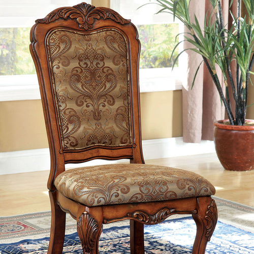 Medieve English Style Antique Oak Finish Formal Dining Chair