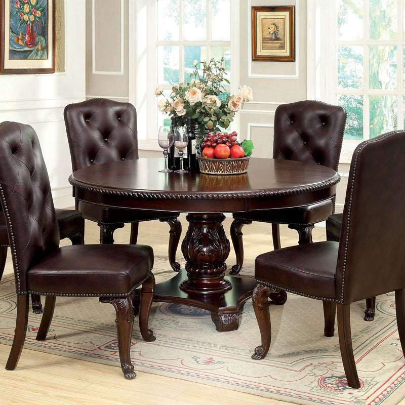 Formal Dining Table Set: Bellagio English Style Brown Cherry Finish Formal Round