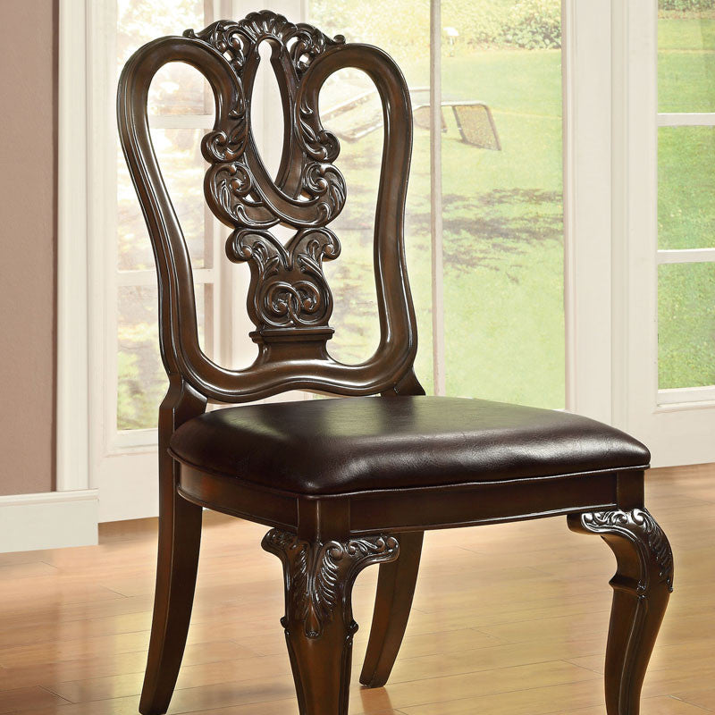 Bellagio English Style Brown Cherry Finish Dining Chair