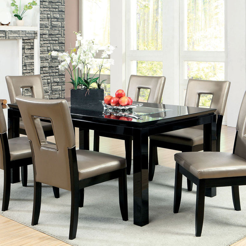 Millen Modern Gloss Black Lacquer Dining Set