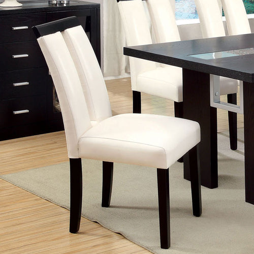 Luminar Contemporary Style White Leatherette Finish Dining Chair