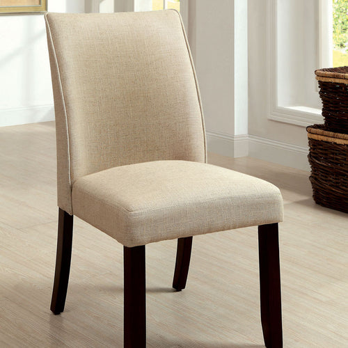 Cimma Contemporary Style Ivory Fabric Finish Dining Chair