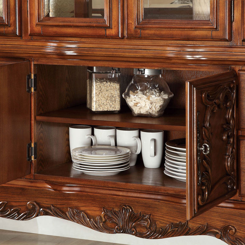 Medieve English Style Antique Oak Finish Formal China Cabinet ...