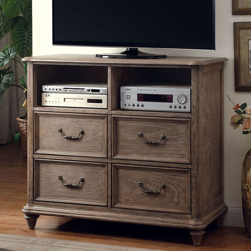 Belgrade Transitional Rustic Weathered Oak Bedroom Media Chest