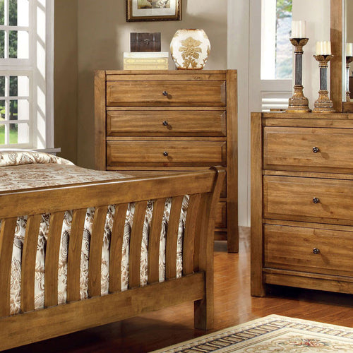 Conrad Country Style Rustic Oak Finish Bedroom Chest
