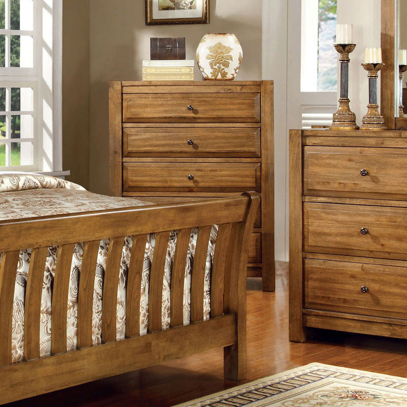 Conrad Country Style Rustic Oak Bedroom Chest