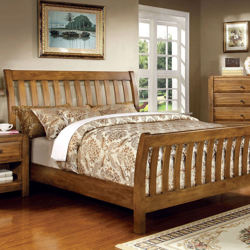 Country Bedroom Sets: Conrad Country Style Rustic Oak Finish Bed Frame Set