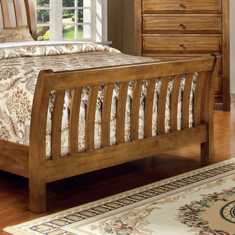 conrad country style rustic oak finish bed frame set