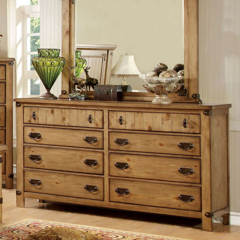 Pioneer Country Style Weathered Elm Finish Bedroom Dresser