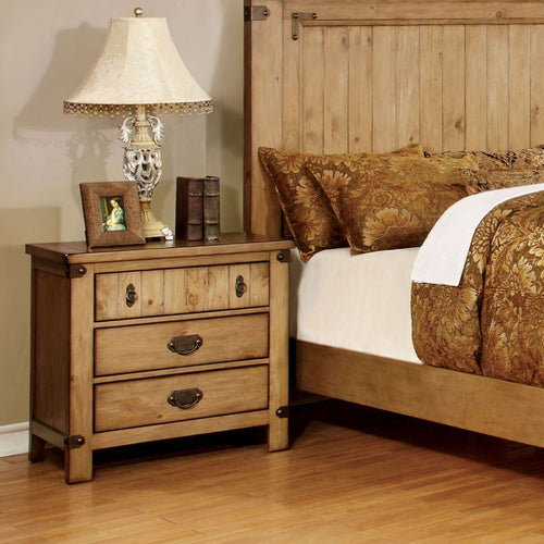 Pioneer Country Style Weathered Elm Finish Bedroom Nightstand