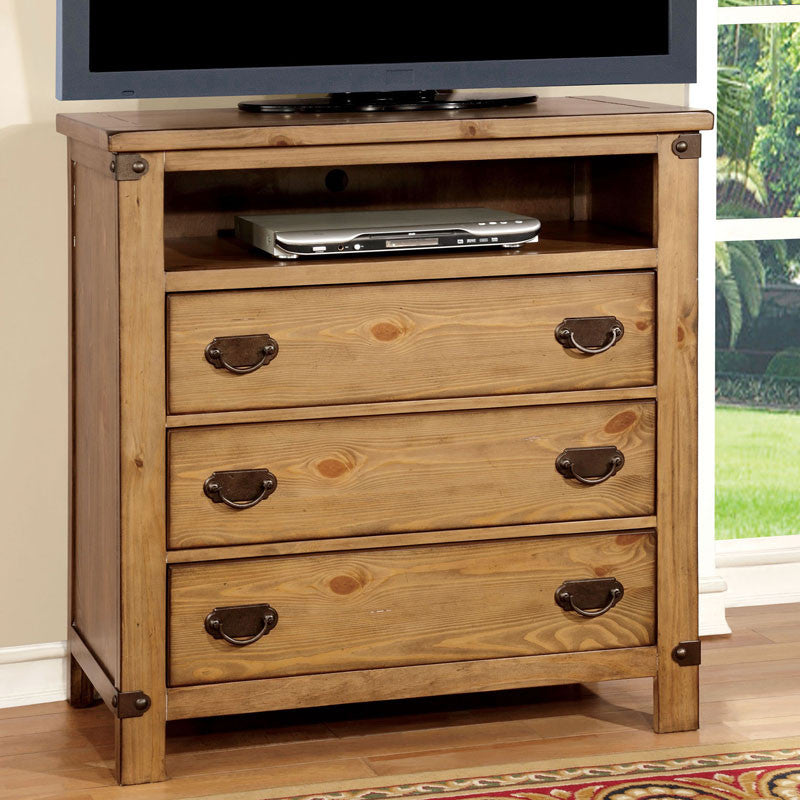 Pioneer Country Style Weathered Elm Finish Bedroom Media Chest