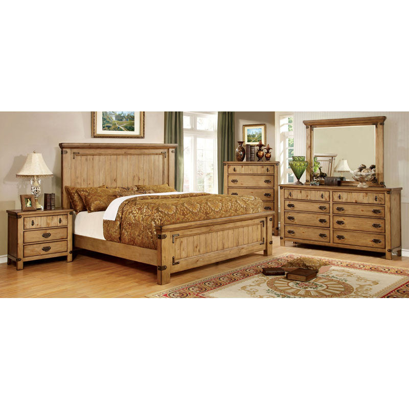 Pioneer Country Style Weathered Elm 6-Piece Bedroom Set
