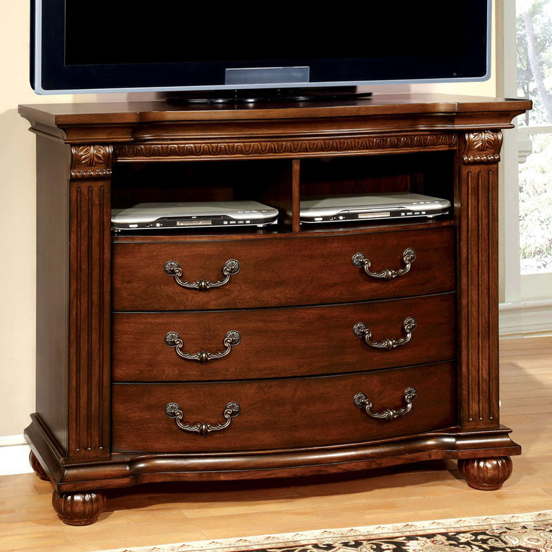 Grandom Traditional Elegant Style Cherry Finish Bedroom Media Chest
