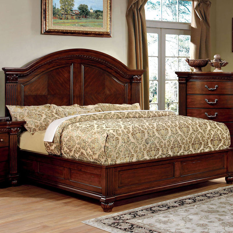 Grandom Traditional Elegant Style Cherry Bed