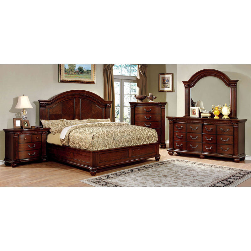 Bedrooms With Traditional Elegance: Grandom Traditional Elegant Style Cherry Finish 6-Piece