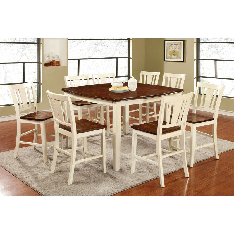 Dover Transitional Cherry and Vintage White Counter Height Dining Set